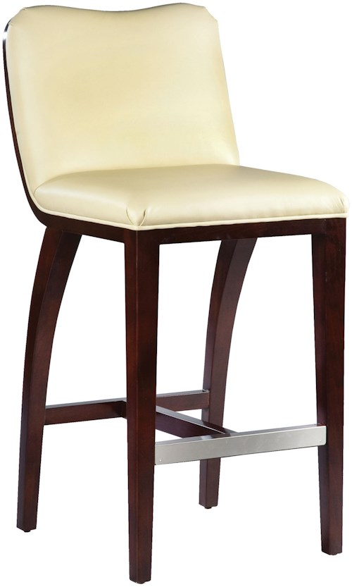 Fairfield Barstools  High End Bar Stool with Decorative, Exposed Wood Curve Back