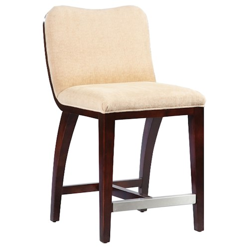 Fairfield Barstools High End Counter Stool with Decorative, Exposed Wood Curve Back