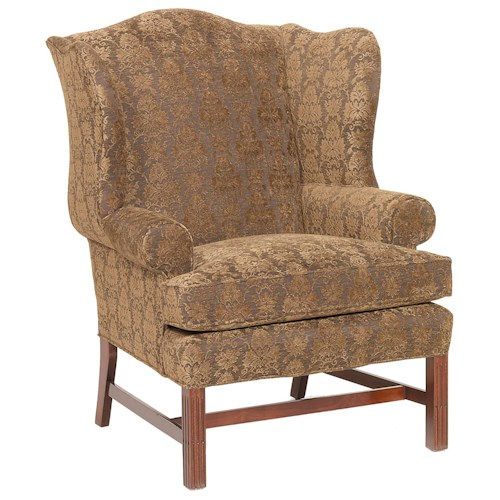 Fairfield Chairs Upholstered Wing Chair with Exposed Wood Legs