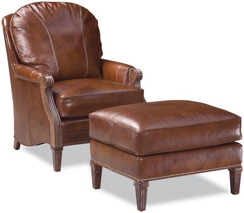 Fairfield Chairs Traditional-Style Chair and Ottoman with Nailhead Trim