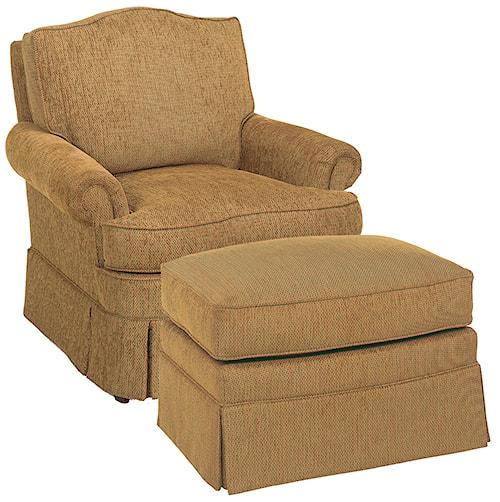 Fairfield Chairs Camel Back Lounge Chair & Ottoman