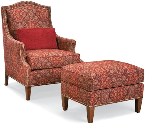 Fairfield Chairs Chair and Ottoman with Nailhead Trim and Wood Legs