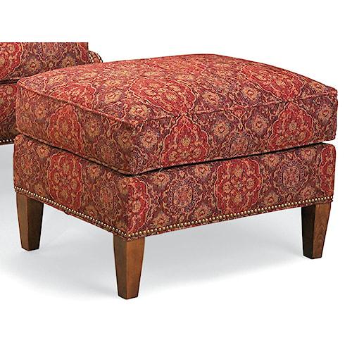 Fairfield Chairs Ottoman with Nailhead Trim and Wood Legs
