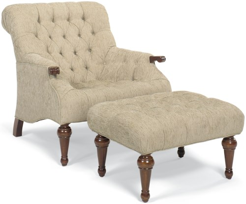 Fairfield Chairs Button-Tufted Chair and Ottoman with Turned Wood Legs
