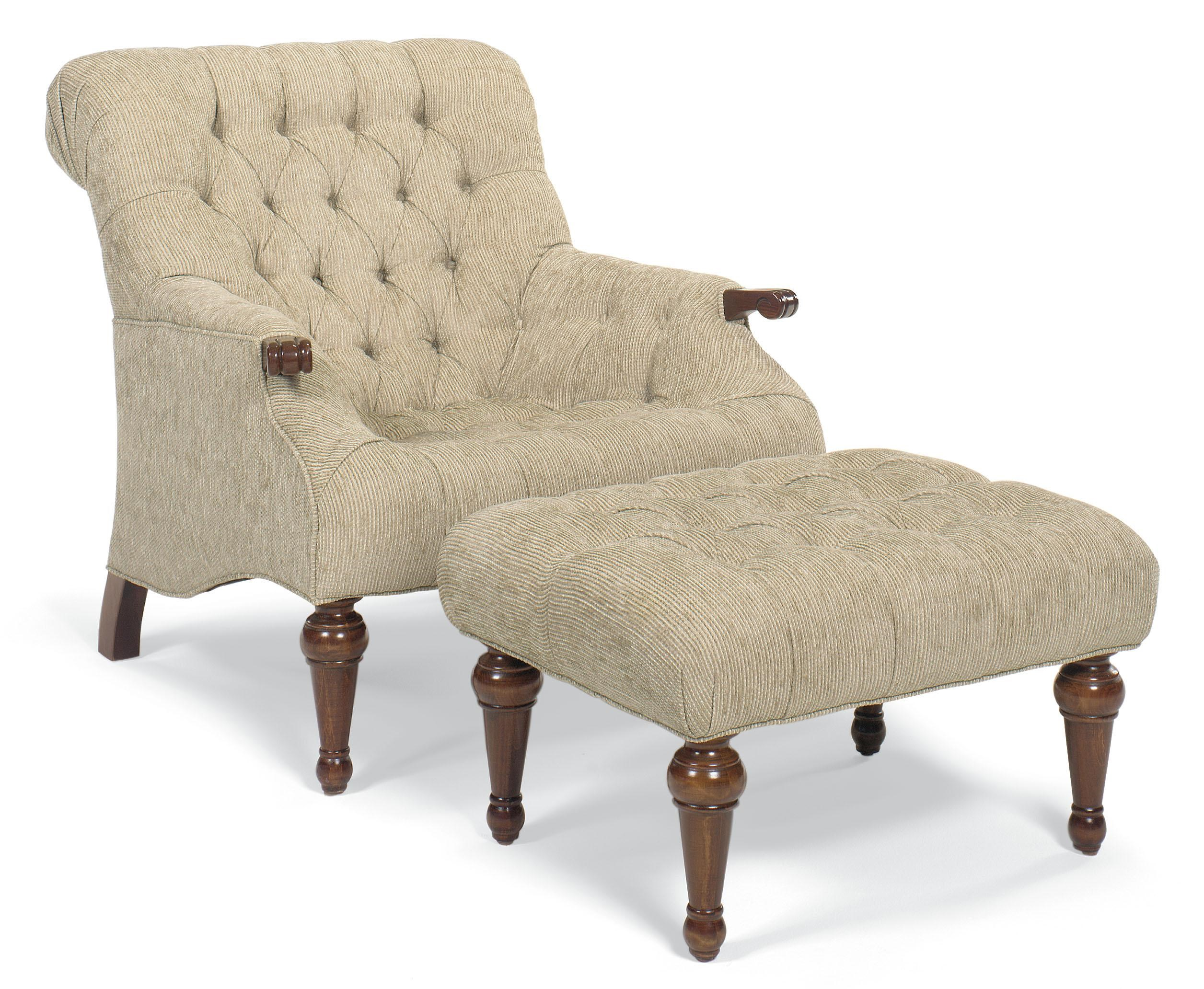 Chairs Button Tufted Chair And Ottoman With Turned Wood Legs By Fairfield