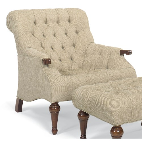 Fairfield Chairs Exposed Wood Chair with Button-Tufting