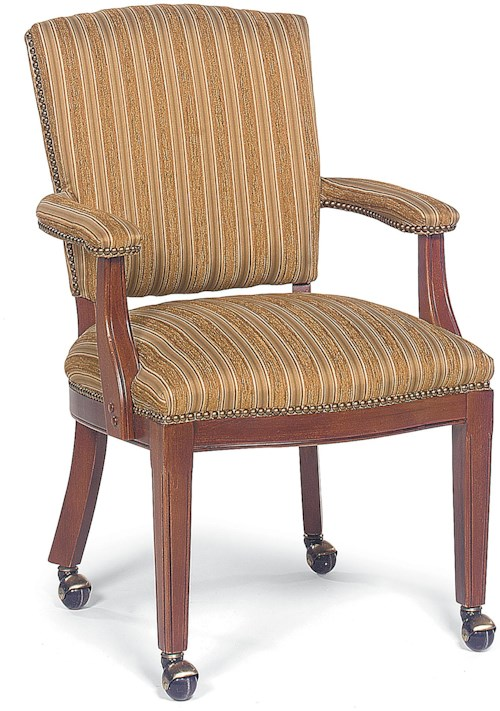 Fairfield Chairs Upholstered Exposed Wood Chair with Nailhead Trim and Casters