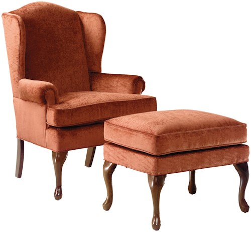 Fairfield Chairs Wing Chair & Ottoman with Cabriole Legs