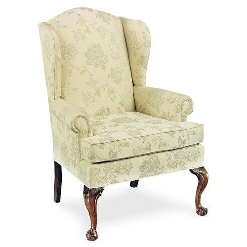 Fairfield Chairs Upholstered Wing Chair With Claw Feet