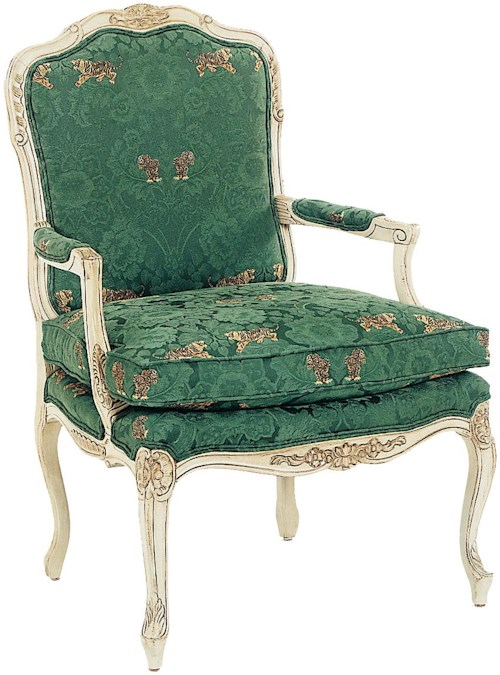 Fairfield Chairs Intricately Carved Accent Chair with Box Edge Seat Cushion