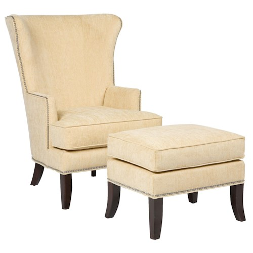 Fairfield Chairs Contemporary Wing Chair & Ottoman Set with Nail Head Trim