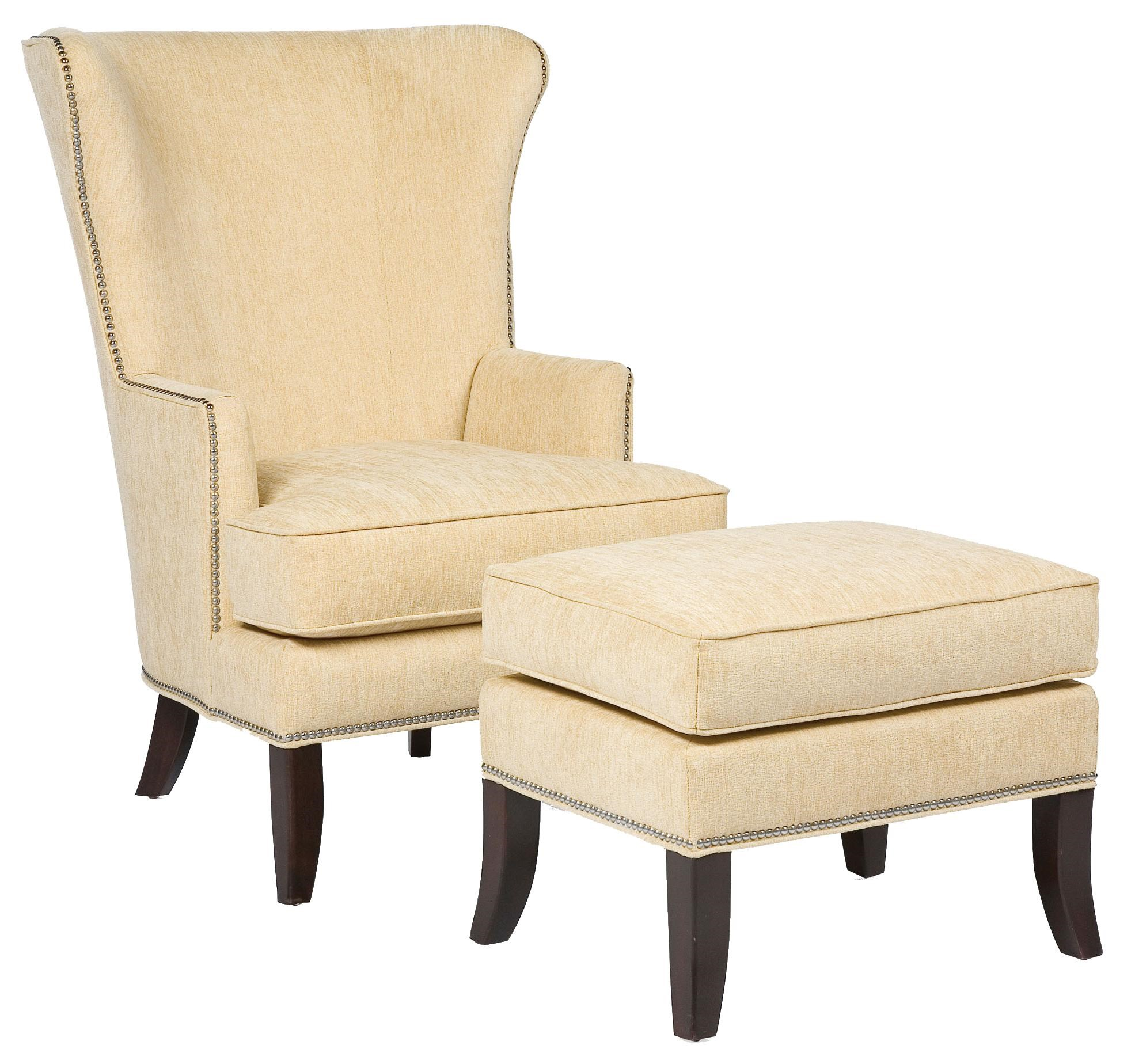 Fairfield Chairs Contemporary Wing Chair U0026 Ottoman Set With Nail Head Trim