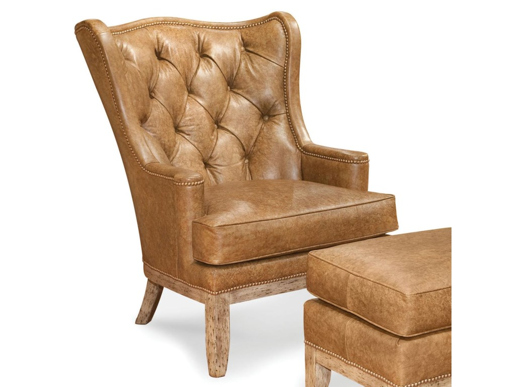 Wing chair with ottoman - Fairfield Chairs Tufted Wing Chair With Nailhead Trim Olinde S Furniture Wing Chairs