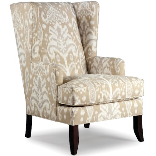 Fairfield Chairs Upholstered Wing Chair with Wood Legs