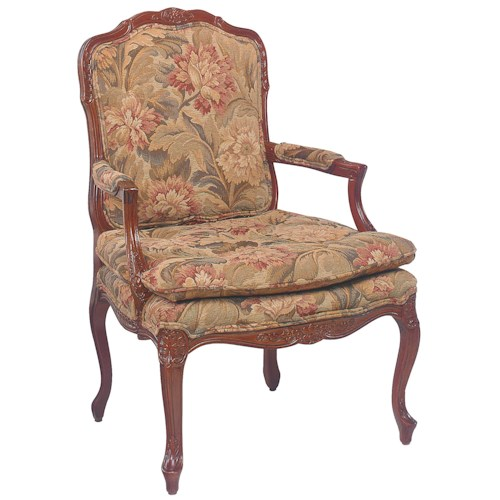 Fairfield Chairs Intricately Carved Accent Chair with Knife Edge Seat Cushion