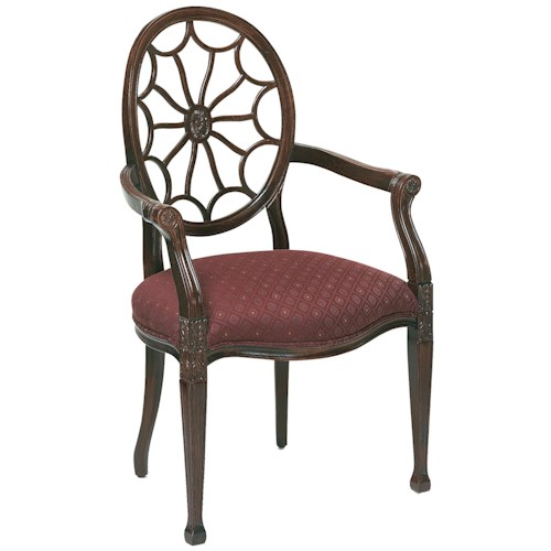 Fairfield Chairs Carved, Web Back Arm Chair