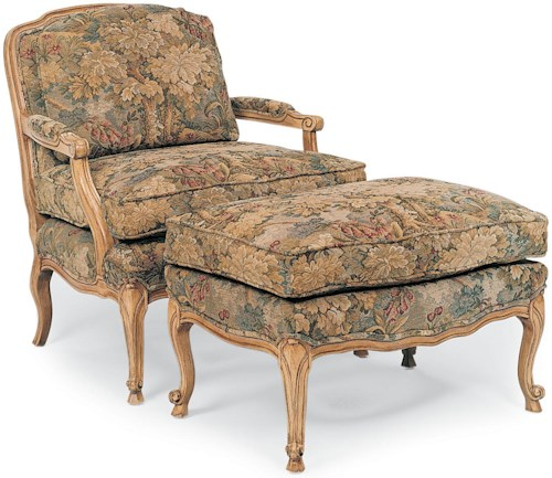 Fairfield Chairs Traditional Stationary Chair and Ottoman with Cabriole Legs
