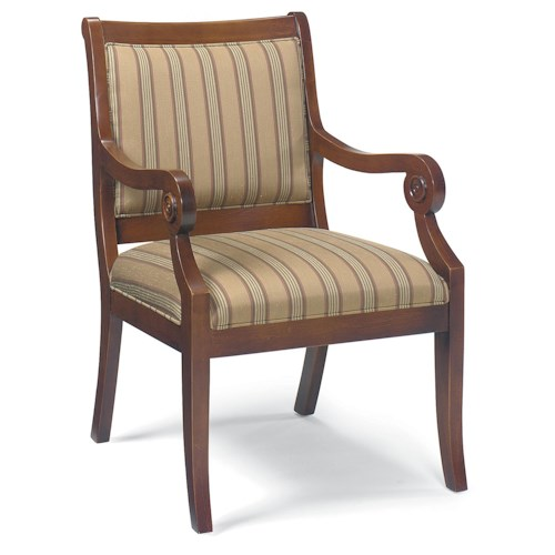 Fairfield Chairs Exposed Wood Chair with Scrolled Arms