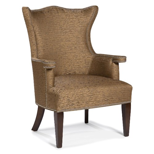 Fairfield Chairs Stationary Lounge Chair with Flared Back Shape and Nailhead Trim