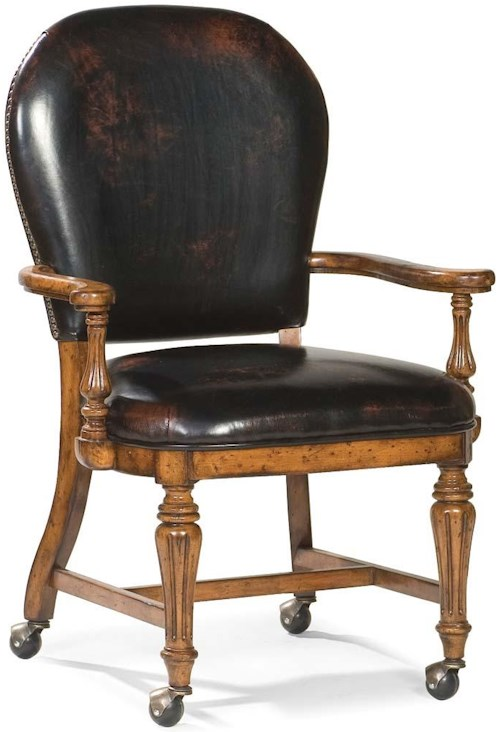 Fairfield Chairs Traditional Exposed-Wood Chair with Round Back and Casters