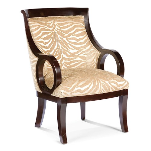 Fairfield Chairs Exposed Wood Accent Chair with Circular Arms