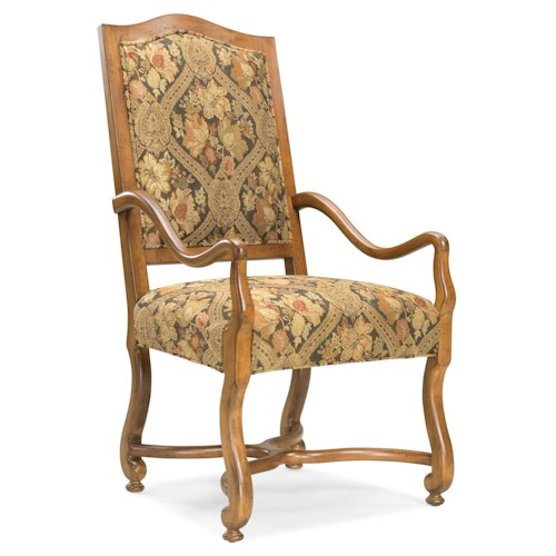 Fairfield Chairs Traditional Exposed-Wood Arm Chair with Curved Arms and Legs