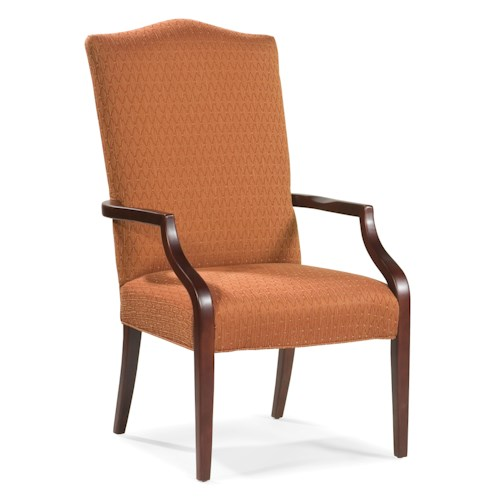 Fairfield Chairs Slender Exposed Wood Chair with Camel Back