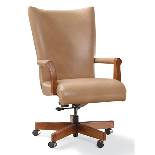 Fairfield Office Furnishings Executive Swivel Chair with Exposed Wood