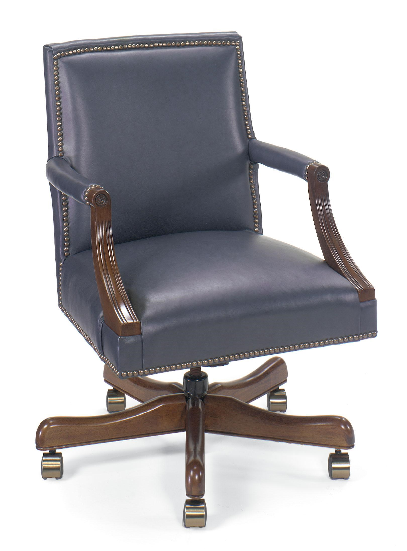 Office Furnishings Leather Executive Swivel Chair With Nailhead Trim By  Fairfield