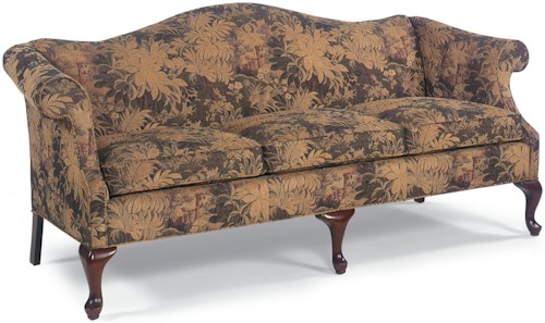 Fairfield Sofa Accents Traditional Stationary Sofa with Cabriole Wood Legs