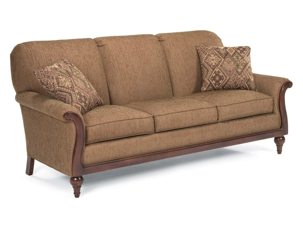 fairfield sofa accents stationary sofa with exposed wood frame - Exposed Wood Frame Sofa
