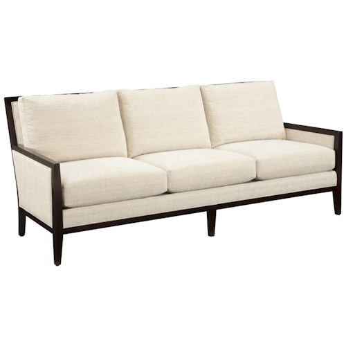 Fairfield Sofa Accents Contemporary Styled Sofa with Traditional Exposed Wood Accent Trim