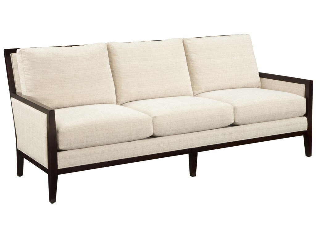 Fairfield Sofa Accents Contemporary Styled With Traditional Exposed Wood Accent Trim