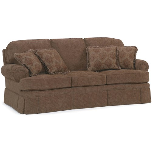 Fairfield Sofa Accents Stationary With Rolled Arms And Skirt