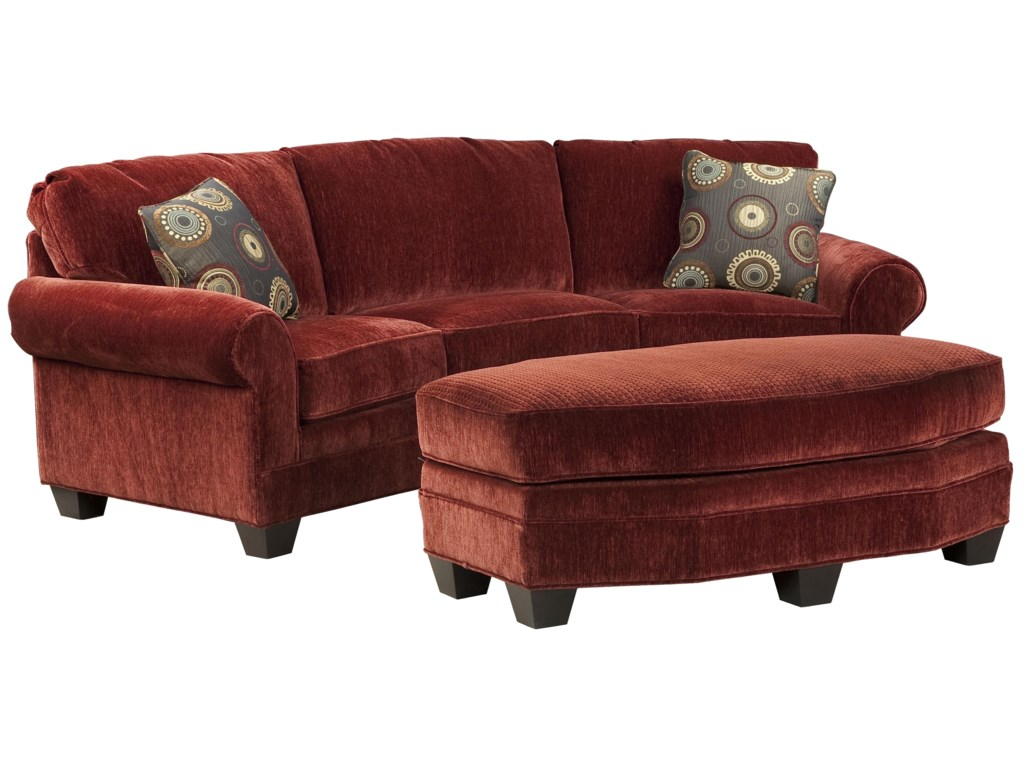 Fairfield sofa accents curved conversation sofa with traditional rolled arms and exposed wood taper feet