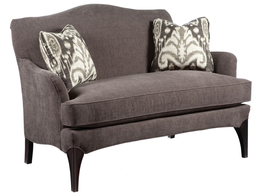 Sofa Accents Contemporary Styled Settee Sofa with Exposed Wood Legs by  Fairfield at Lindy\'s Furniture Company