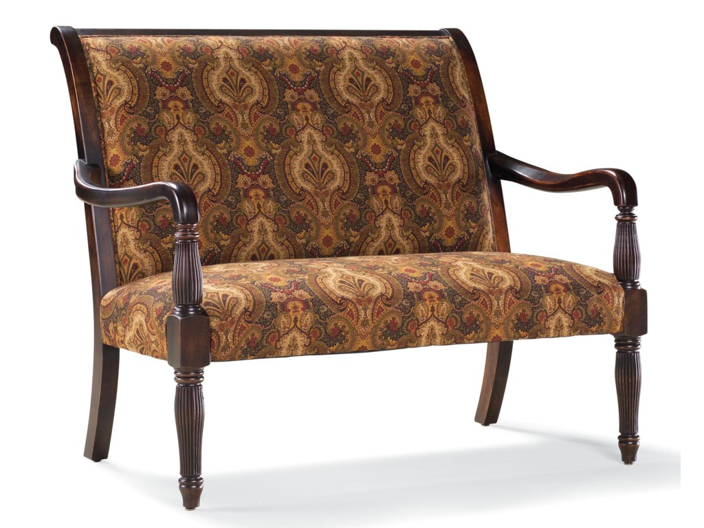 Fairfield Sofa Accents Traditional Stationary Settee with Wood Frame ...