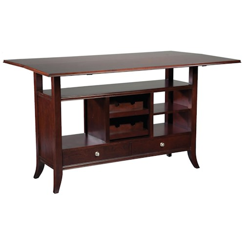 Fairfield Tables Flip-Top Wine Rack Console Table with Open Storage Display Space