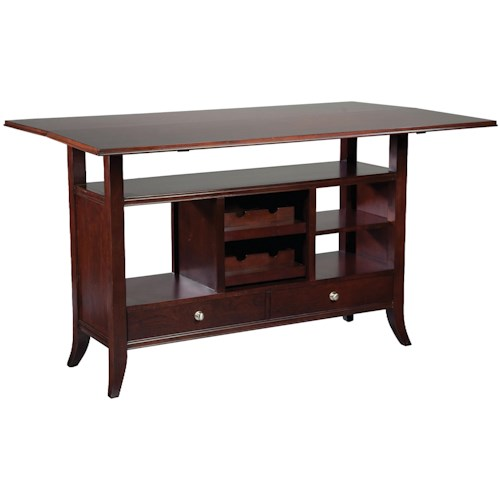 Fairfield Tables Flip Top Wine Rack Console Table With Open Storage Display E