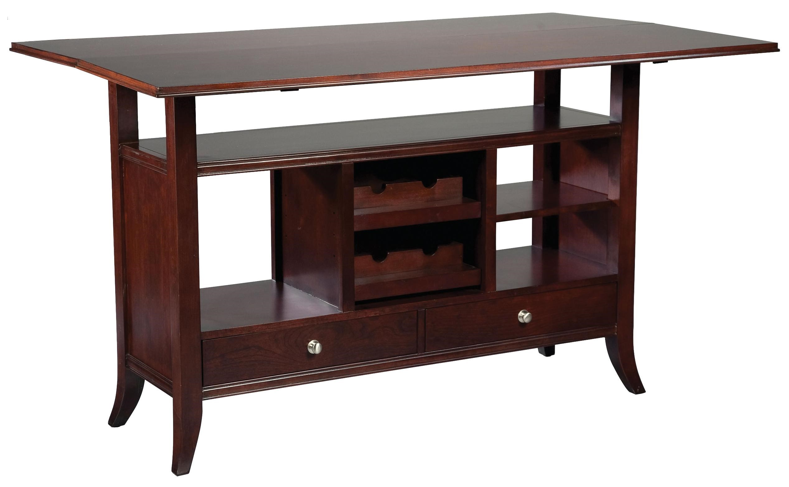 Fairfield Tables Flip Top Wine Rack Console Table With Open Storage Display  Space