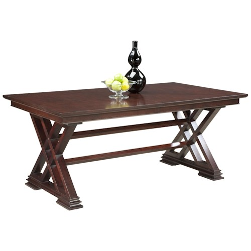 Fairfield Tables Formal Dining Room Table in Trestle Style with Decorative Cross Beam Supports
