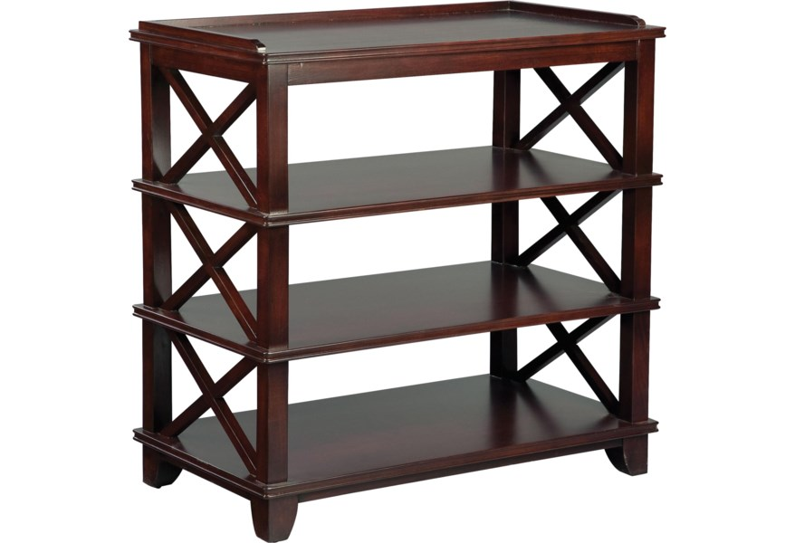 Grove Park Tables Casual Dining Room Side Table With Open Storage And Criss Cross Pattern Sprintz Furniture Sideboards