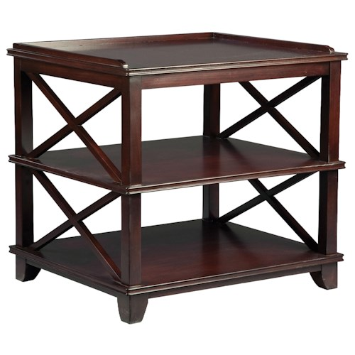 Fairfield Tables Casual End Table with Open Storage and Criss-Cross Pattern