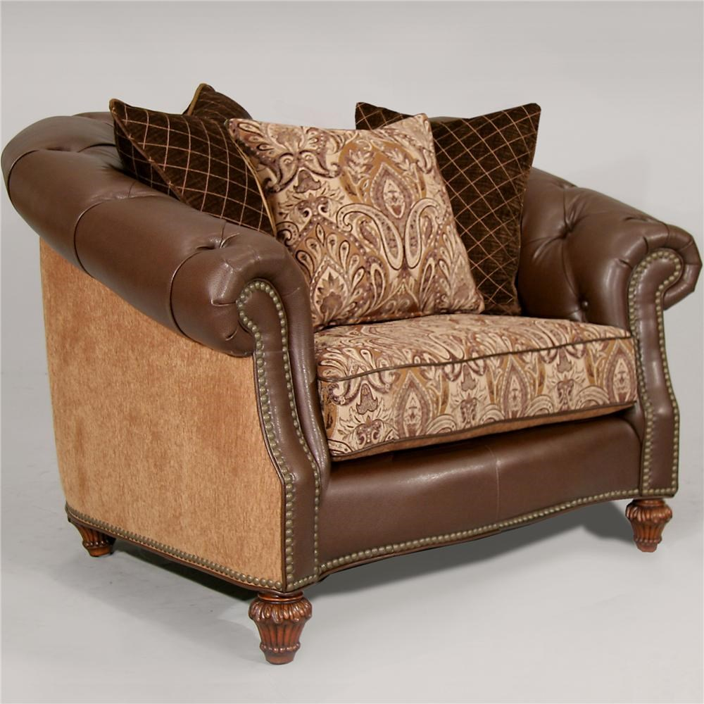 Fairmont Designs Estates II Matching Plush Caramel Chair With Leather And  Fabric   Royal Furniture   Upholstered Chairs