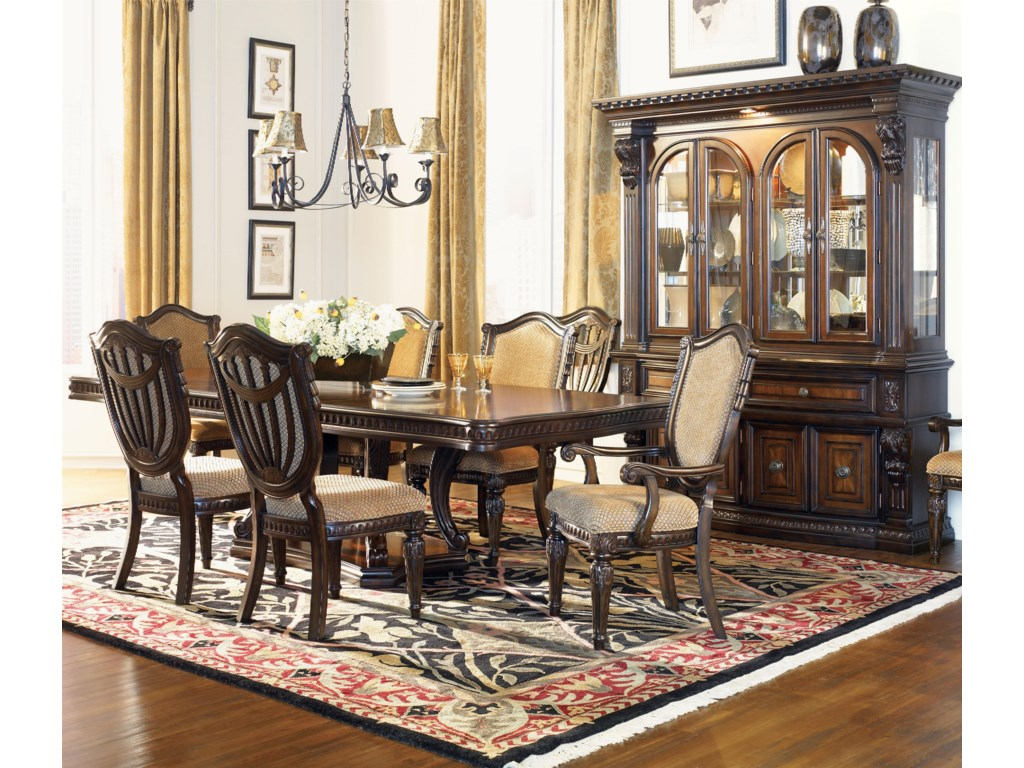 Shown in Room Setting with Dining Table, Upholstered Side Chairs and Hutch