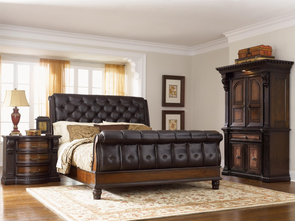 Fairmont Designs Grand Estates King Sleigh Bed W Leather - Fairmont designs bedroom sets