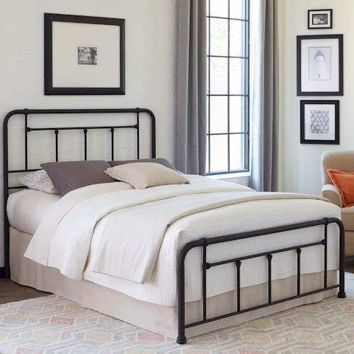 Fashion Bed Group Baldwin Queen Baldwin Complete Bed with Metal Posts and Detailed Castings