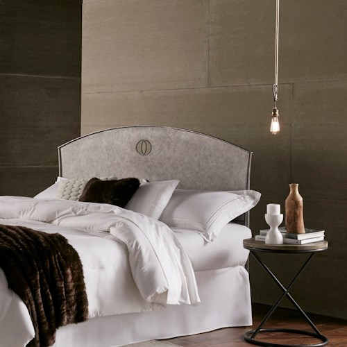 Fashion Bed Group Barrington Barrington King Metal Headboard with Industrial Circular Design