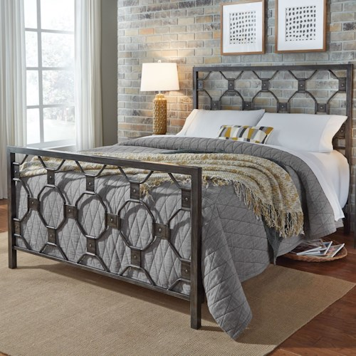Fashion Bed Group Baxter Full Baxter Metal Bed with Geometric Octagonal Design