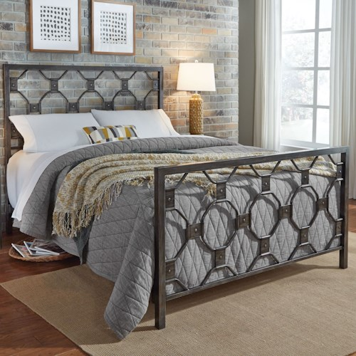 Fashion Bed Group Baxter Queen Baxter Complete Metal Bed with Geometric Octagonal Design
